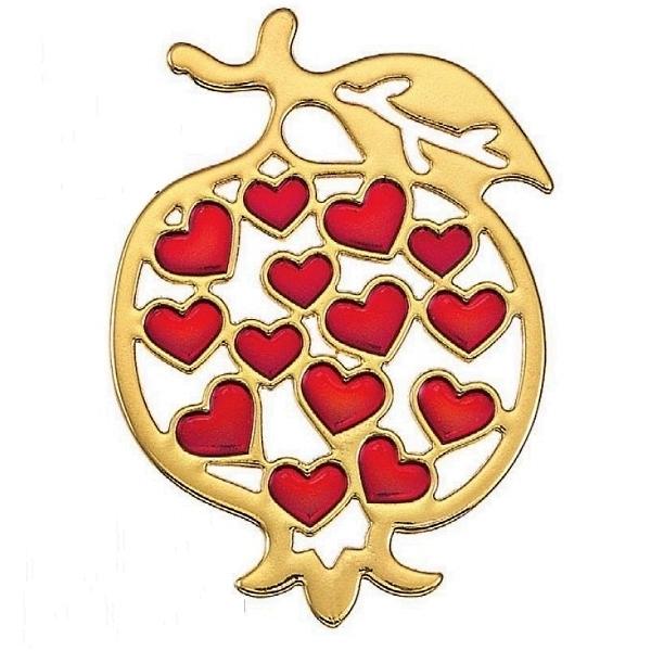 Μεταλλικό ρόδι χρυσό με καρδιές