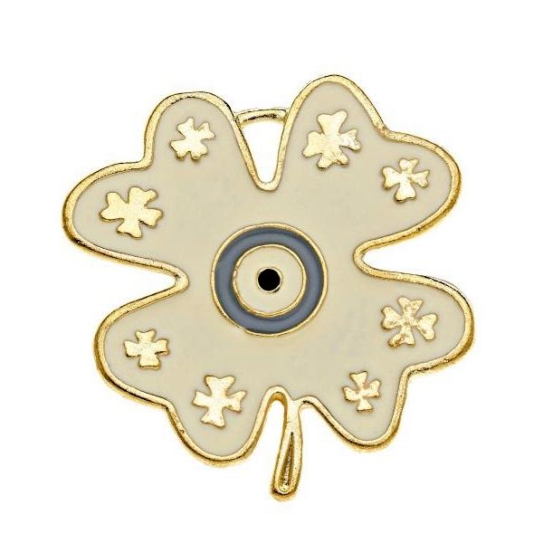 Μεταλλικό τρυφύλλι με σμάλτο χρυσό
