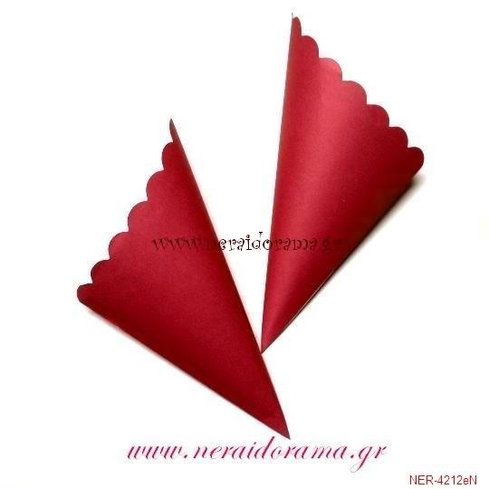 Χάρτινα χωνάκια για  ζαχαρωτά -Κόκκινο