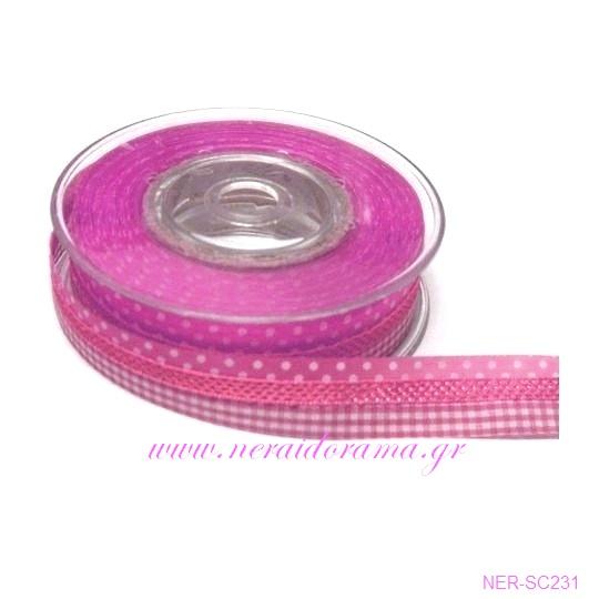 Πολυκορδέλα καρό-πουά  Ρόζ