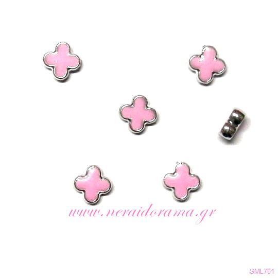 Σταυρουδάκι με σμάλτο-Ρόζ