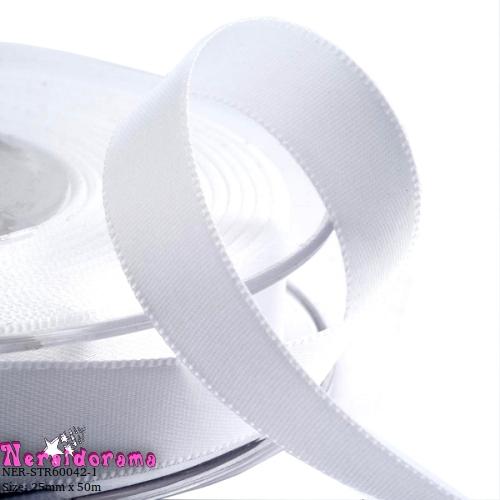 Κορδέλα σατέν διπλής όψης 25mm x 50μ. Λευκό