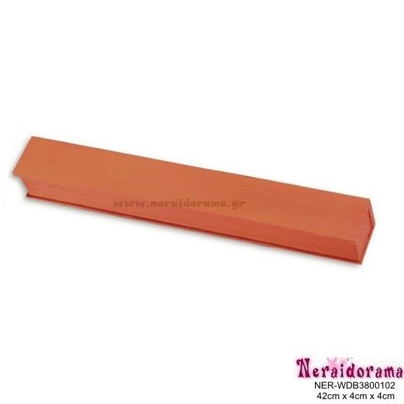 Ξύλινο λαμπαδόκουτο  πορτοκαλί 42εκ X 4εκ Χ 4εκ