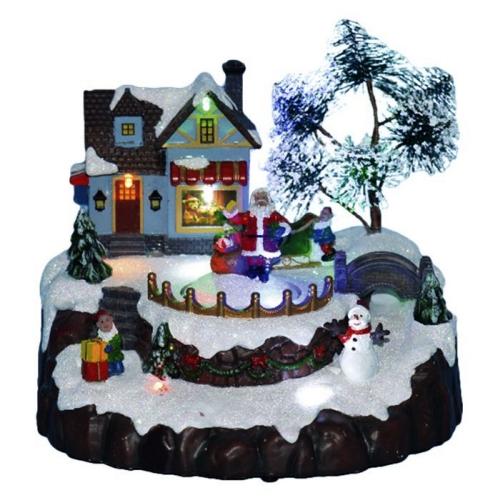 Χριστουγεννιάτικο Χωριό Αγιος Βασίλης Με Φώς-Κίνηση 20,5εκ