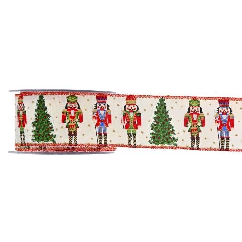 Χριστουγεννιάτικη Κορδέλα Nutcracker Κόκκινη 5.5cmX9m