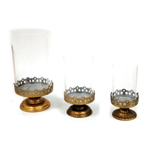Χρυσά αντικέ μεταλλικά κηροπήγια με γυαλί σέτ των 3