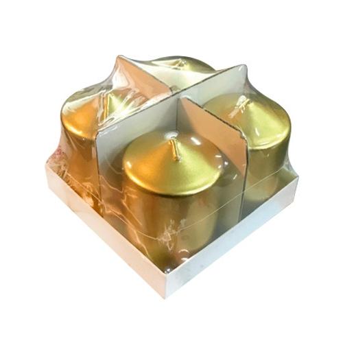 Χρυσά Κεριά Σετ 4 Τεμαχίων 7.5 x 5εκ