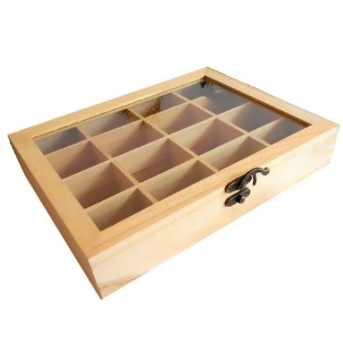 Ξύλινο κουτί 16 θέσεων με τζάμι