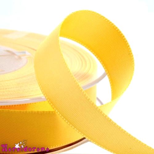 Κορδέλα σατέν διπλής όψης 25mm x 50μ. Κίτρινο