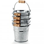 Steel Metal Bucket With Wooden Handle Silver 8 x 8 cm