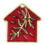 Metal home Christmas charm with olive branch