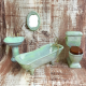 Dollhouse miniature green porcelain bathroom set toilet 1:12