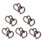 Μεταλλικές Καρδιές Αντικέ Ρόζ Χρυσό 3x2.5εκ.  100 τεμ.