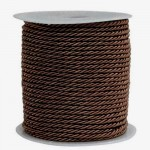 Chocolate 3ply Polyester Cord 3mm x 50m
