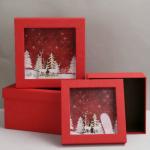 Χριστουγεννιάτικα κουτιά δώρου πολυτελείας σέτ 3 τεμαχίων