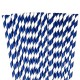 Dark blue paper striped straws